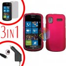 For Samsung Focus i917 Screen +Car Charger + Hard Case Rubberized Rose Pink 3-in-1