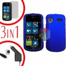 For Samsung Focus i917 Screen +Car Charger + Hard Case Rubberized Blue 3-in-1