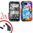 For Motorola Defy MB525 Car Charger + Cover Hard Case A-Flower 2-in-1