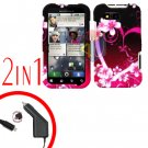 For Motorola Defy MB525 Car Charger + Cover Hard Case Love 2-in-1