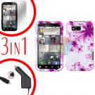 For Motorola Defy MB525 Screen +Car Charger +Cover Hard Case H-Flower 3-in-1