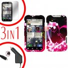 For Motorola Defy MB525 Screen +Car Charger +Cover Hard Case Love 3-in-1