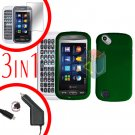 For Pantech Laser P9050 Screen +Car Charger +Hard Case Rubberized Green 3-in-1