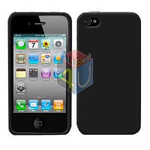 For Apple iphone 4S 4 Cover Hard Case Rubberized Black