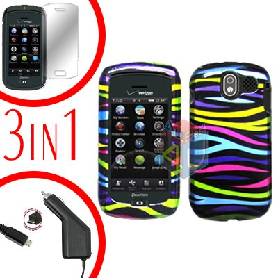 For Pantech Crux / CDM8999 Screen +Car Charger +Hard Case Rainbow 3-in-1