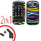 For Pantech Crux / CDM8999 Car Charger +Hard Case Rainbow 2-in-1