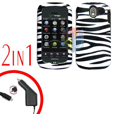For Pantech Crux / CDM8999 Car Charger +Hard Case Zebra 2-in-1