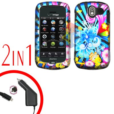 For Pantech Crux / CDM8999 Car Charger +Hard Case A-Flower 2-in-1