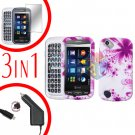 For Pantech Laser P9050 Screen +Car Charger +Hard Case H-Flower 3-in-1