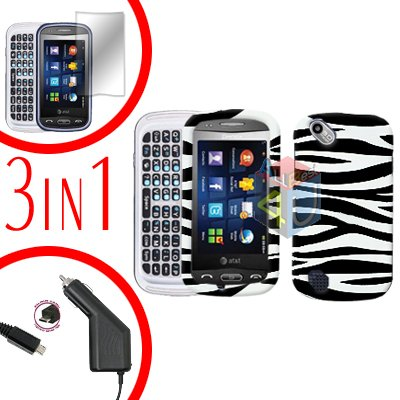 For Pantech Laser P9050 Screen +Car Charger +Hard Case Zebra 3-in-1