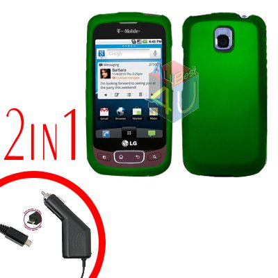 For LG Optimus-T / P509 Car Charger +Cover Hard Case Rubberized Green 2-in-1