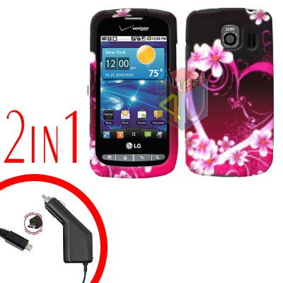 For LG Vortex VS660 Car Charger +Cover Hard Case Love 2-in-1