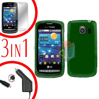 For LG Vortex VS660 Screen +Car Charger +Hard Case Green 3-in-1