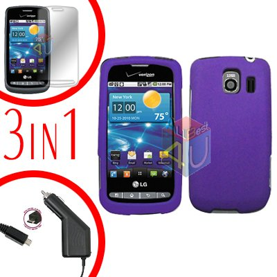 For LG Vortex VS660 Screen +Car Charger +Hard Case Purple 3-in-1