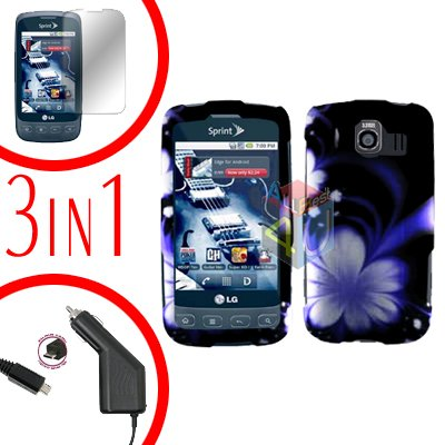 For LG Optimus-S / LS670 Screen +Car Charger +Hard Case B-Flower 3-in-1