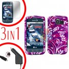 For LG Optimus-S / LS670 Screen +Car Charger +Hard Case P-Flower 3-in-1