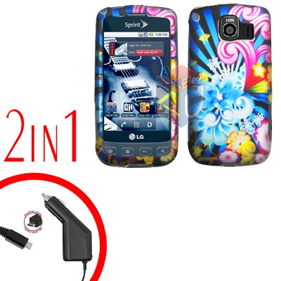 For LG Optimus-S / LS670 Car Charger +Cover Hard Case A-Flower 2-in-1