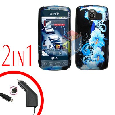 For LG Optimus-S / LS670 Car Charger +Cover Hard Case Flower 2-in-1