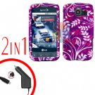 For LG Optimus-S / LS670 Car Charger +Cover Hard Case P-Flower 2-in-1