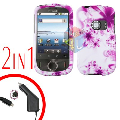 For Huawei Comet U8150 Car Charger + Cover Hard Case H-Flower 2-in-1