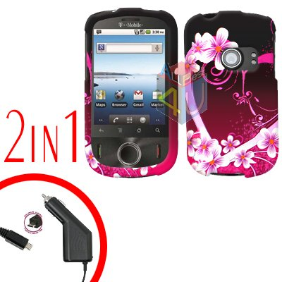 For Huawei Comet U8150 Car Charger + Cover Hard Case Love 2-in-1