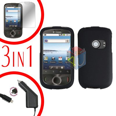 For Huawei Comet U8150 Screen +Car Charger +Hard Case Rubberized Black 3-in-1