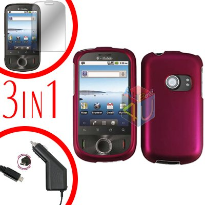 For Huawei Comet U8150 Screen +Car Charger +Hard Case Rubberized Rose Pink 3-in-1
