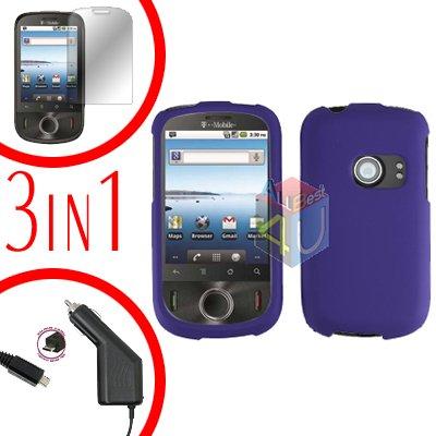For Huawei Comet U8150 Screen +Car Charger +Hard Case Rubberized Purple 3-in-1