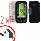 For LG Cosmos Touch VN270 Car Charger +Cover Hard Case Rubberized Black 2-in-1