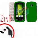 For LG Cosmos Touch VN270 Car Charger +Cover Hard Case Rubberized Green 2-in-1