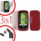 For LG Cosmos Touch VN270 Screen +Car Charger +Hard Case Rubberized Red 3-in-1