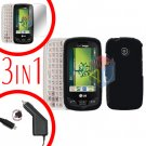 For LG Cosmos Touch VN270 Screen +Car Charger +Hard Case Rubberized Black 3-in-1