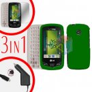 For LG Cosmos Touch VN270 Screen +Car Charger +Hard Case Rubberized Green 3-in-1