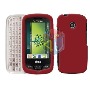 For LG Cosmos Touch VN270 Cover Hard Case Rubberized Red