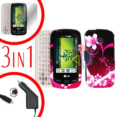 For LG Cosmos Touch VN270 Screen +Car Charger +Hard Case Love 3-in-1