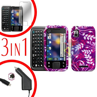 For Motorola Flipside MB508 Screen +Car Charger +Cover Hard Case P-Flower 3-in-1
