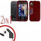 For Motorola Flipside MB508 Car Charger +Hard Case Red 2-in-1