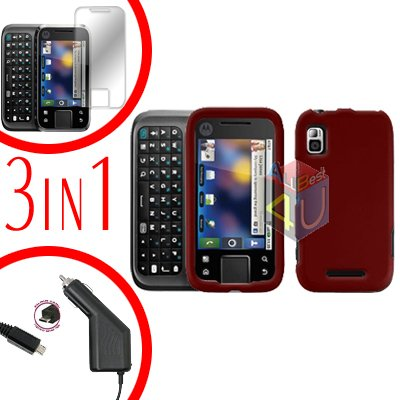 For Motorola Flipside MB508 Screen +Car Charger +Hard Case Red 3-in-1