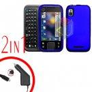 For Motorola Flipside MB508 Car Charger +Hard Case Blue 2-in-1