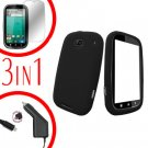 For Motorola Bravo MB520 Screen +Car Charger + Cover Silicon Case Black 3-in-1