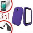 For Motorola Bravo MB520 Screen +Car Charger + Cover Silicon Case Purple 3-in-1