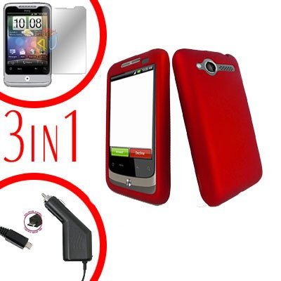 For HTC Wildfire 6225 Screen +Car Charger +Cover Hard Case Rubberized Red 3-in-1