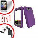 For HTC Wildfire 6225 Screen +Car Charger +Cover Hard Case Rubberized Purple 3-in-1