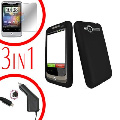 For HTC Wildfire 6225 Screen +Car Charger +Cover Hard Case Rubberized Black 3-in-1