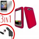 For HTC Wildfire 6225 Screen +Car Charger +Cover Hard Case Rubberized Rose Pink 3-in-1