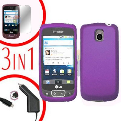 For LG Optimus One P500 Screen +Car Charger +Cover Hard Case Purple 3-in-1