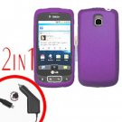 For LG Optimus One P500 Car Charger +Cover Hard Case Rubberized Purple 2-in-1