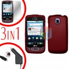 For LG Optimus One P500 Screen +Car Charger +Cover Hard Case Red 3-in-1