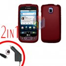 For LG Optimus One P500 Car Charger +Cover Hard Case Rubberized Red 2-in-1
