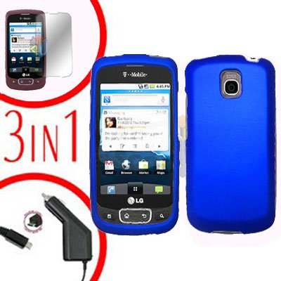 For LG Optimus One P500 Screen +Car Charger +Cover Hard Case Blue 3-in-1